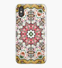 Ornamental round colorful geometric pattern in aztec style iPhone Case