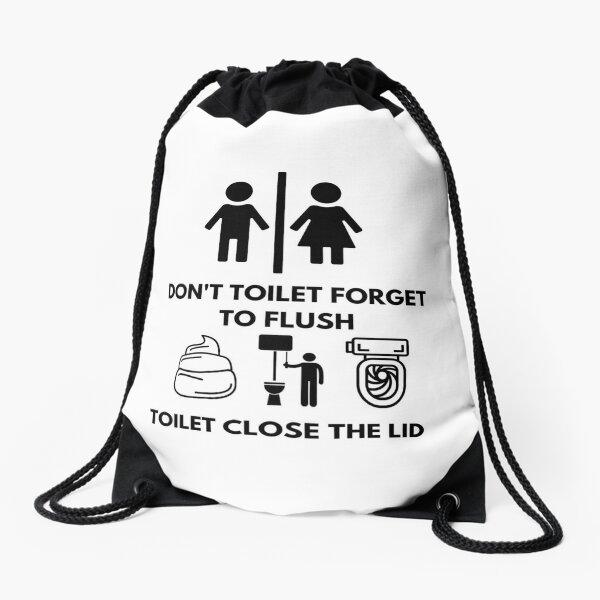 toilet , toilet paper , toilet seat , flush  Drawstring Bag