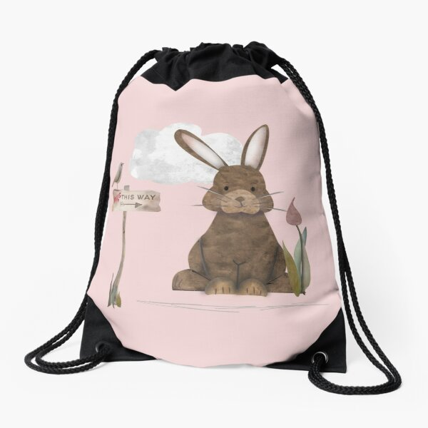 Send a hug because I miss you. Adorable watercolor rabbit illustration Drawstring Bag