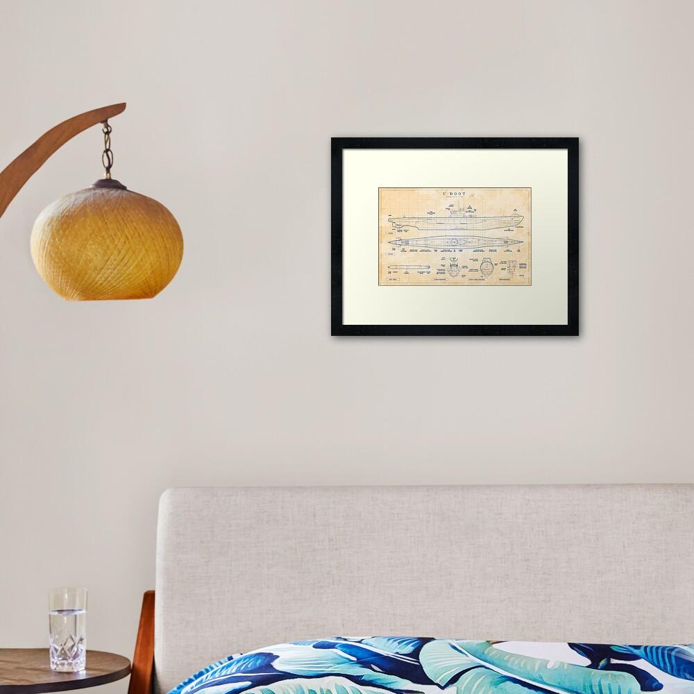Das Boot: U-Boot Type VIIC (U-96) (Old Blue Grid) Framed Art Print