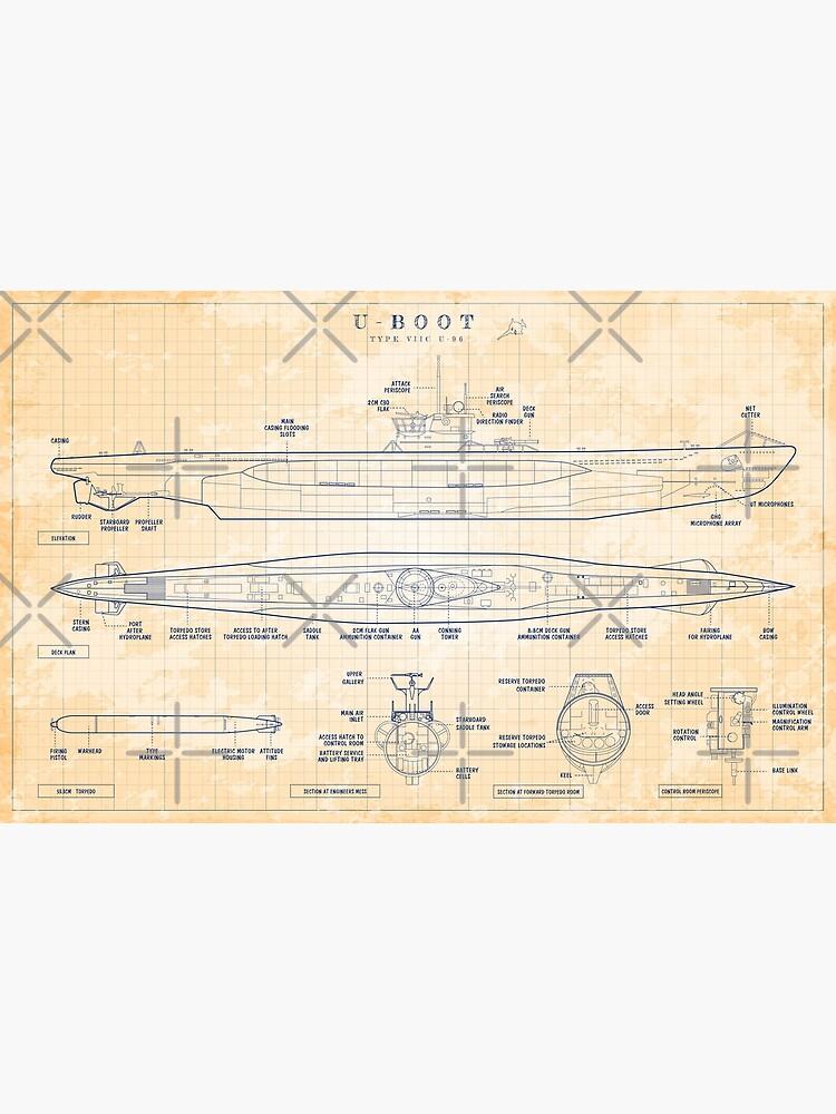 Das Boot: U-Boot Type VIIC (U-96) (Old Blue Grid) by BGALAXY
