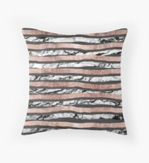 Elegant Black White Marble Rose Gold Brushstrokes Throw Pillow