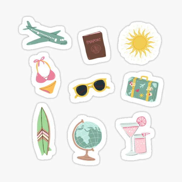 Colorful travel pack / icons  Sticker
