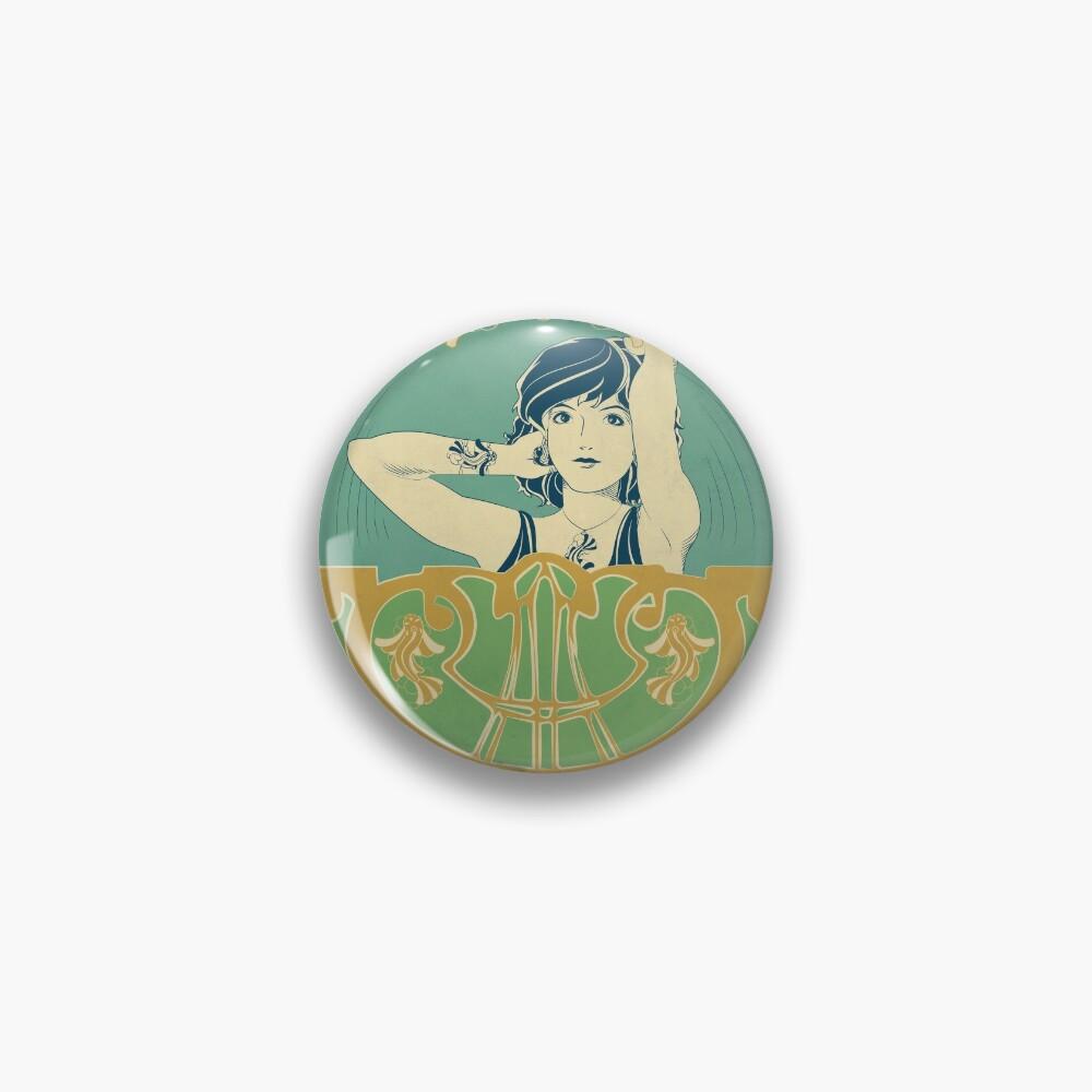 Badge «Parure Poisson bleu - Illustration Art Nouveau»