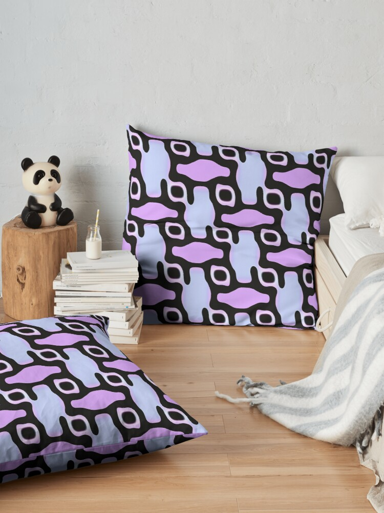 Alternate view of Modern Abstract Blue Pink Black Pattern Design 1822 Floor Pillow