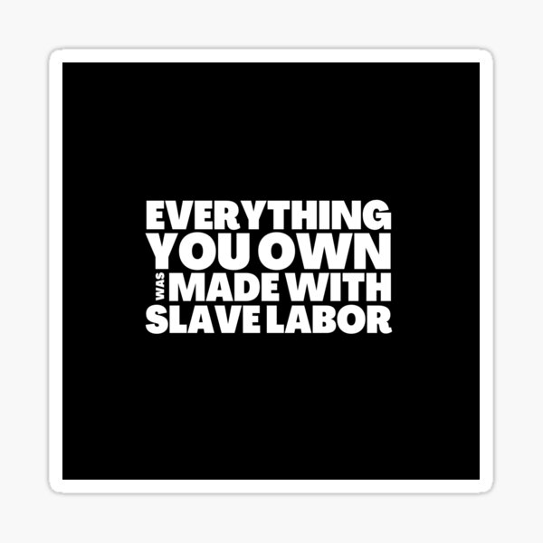 Everything You Own Was Made With Slave Labor Sticker