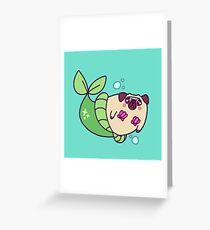Pug Mermaid Greeting Card