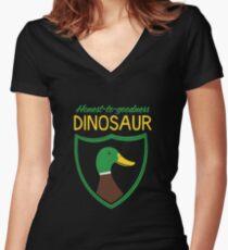 Honest-To-Goodness Dinosaur: Duck (on dark background) Women's Fitted V-Neck T-Shirt