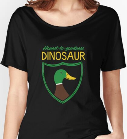 Honest-To-Goodness Dinosaur: Duck (on dark background) Women's Relaxed Fit T-Shirt