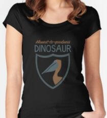 Honest-To-Goodness Dinosaur: Pelican (on dark background) Women's Fitted Scoop T-Shirt