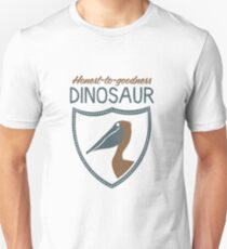 Honest-To-Goodness Dinosaur: Pelican (on dark background) Unisex T-Shirt