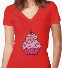 Cupcake Sloth Women's Fitted V-Neck T-Shirt