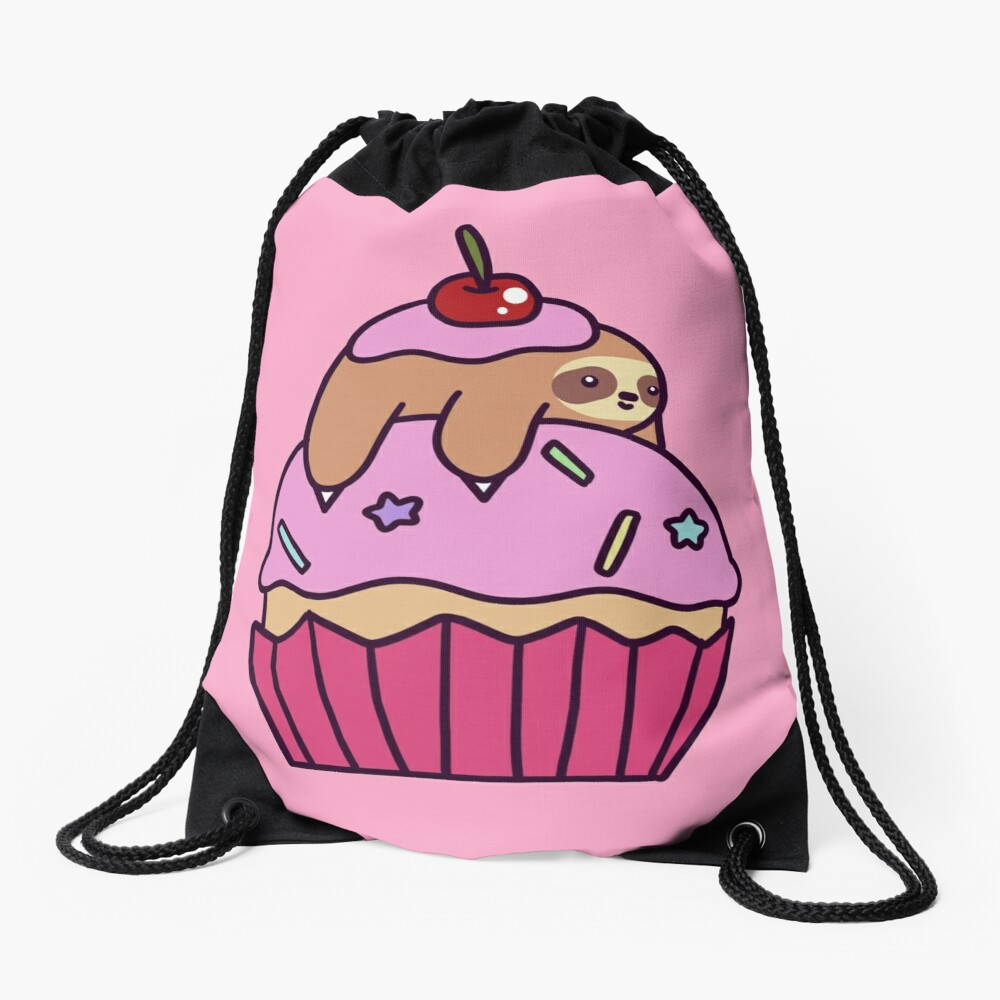 Cupcake Sloth Drawstring Bag