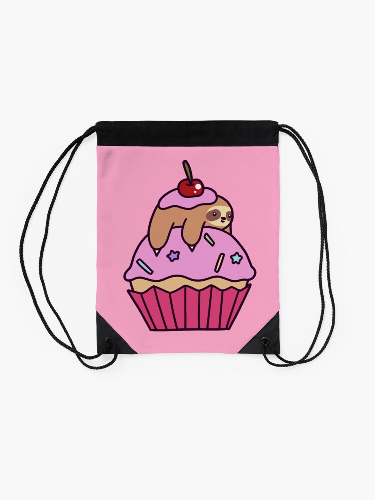 Alternate view of Cupcake Sloth Drawstring Bag