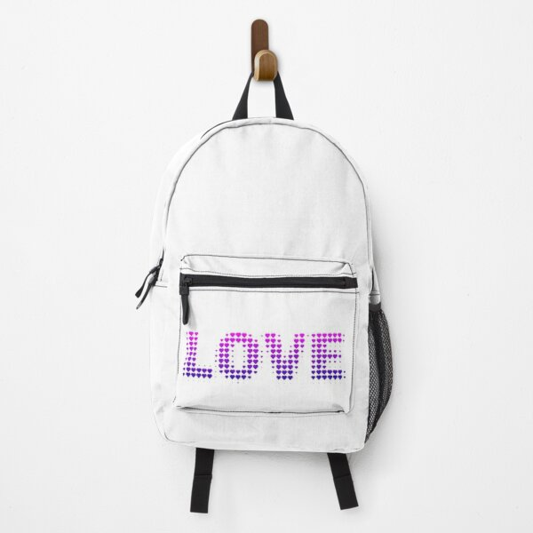 Love text filled with hearts Backpack