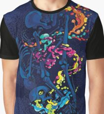 Psychedelic Skeleton Bone Fluid Rock Rainbow Pepe Psyche Graphic T-Shirt