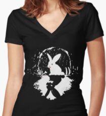 Crazy rabbit! Women's Fitted V-Neck T-Shirt