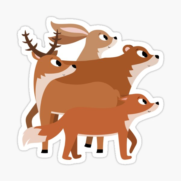 Animaux renard, cerf, ours et lapin Sticker