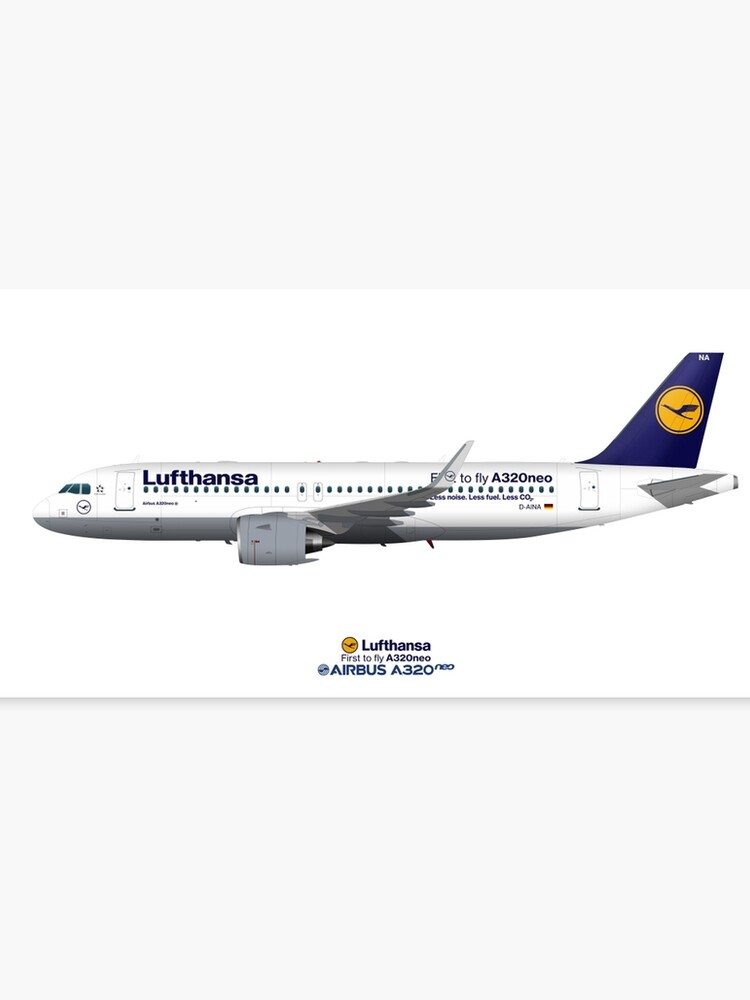 Illustration of Lufthansa Airbus A320 NEO D-AINA | Canvas Print