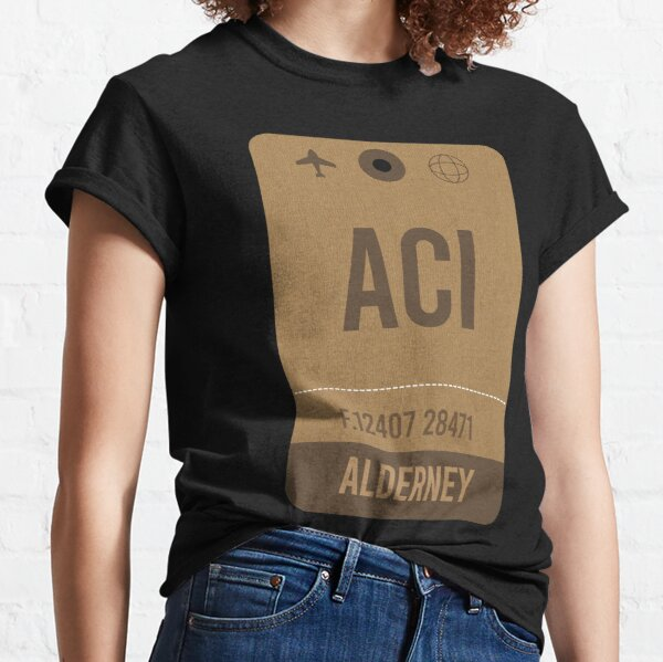 Alderney Airport Code, Airport Vintage Luggage Tag Classic T-Shirt