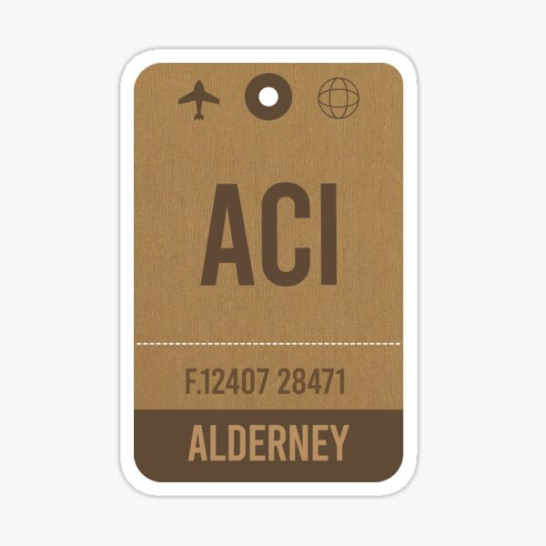 Alderney Airport Code, Airport Vintage Luggage Tag Sticker