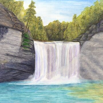 Cane Creek Falls Watercolor Painting by redspearart