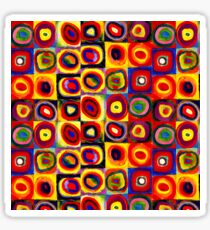 Kandinsky Modern Squares Circles Colorful Sticker