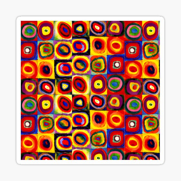 Kandinsky Modern Squares Circles Colorful Sticker