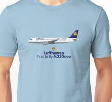 Illustration of Lufthansa Airbus A320 NEO D-AINA - Blue Version Unisex T-Shirt