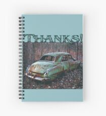 """Gratitude Journal-Thanks, """"Old Car in the Woods"""" Spiral Notebook"""