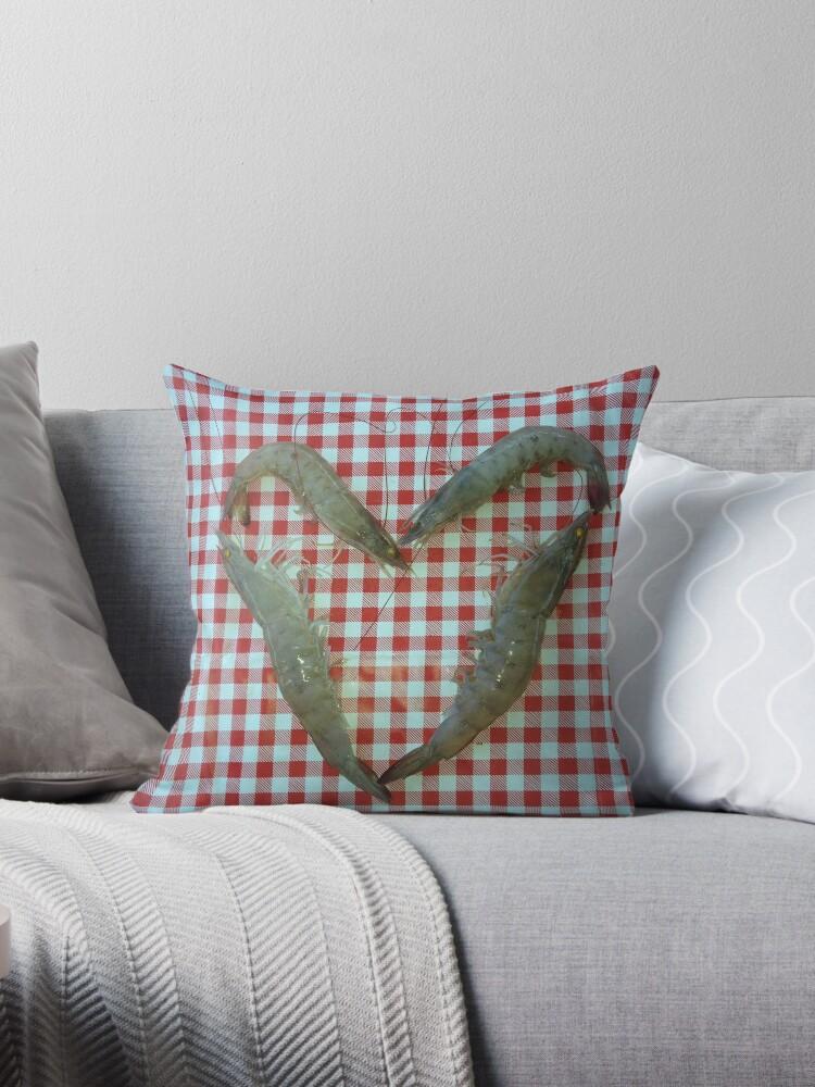 'Shrimp Heart Love' Throw Pillow by ShrimpinGranny