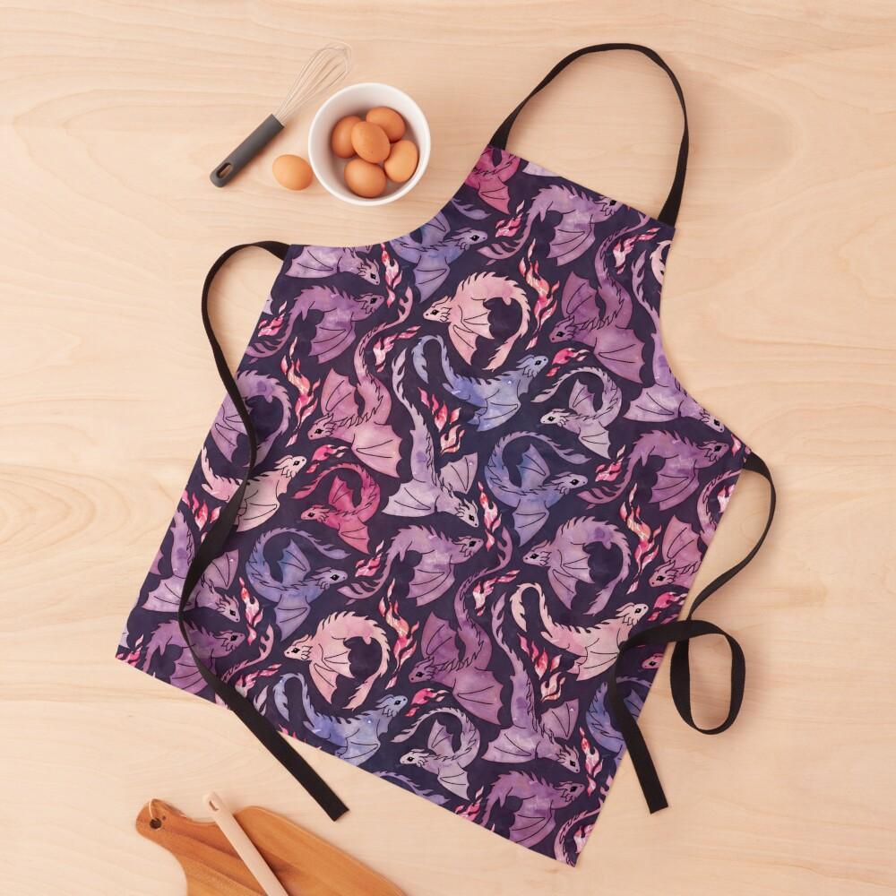Dragon fire dark pink & purple Apron