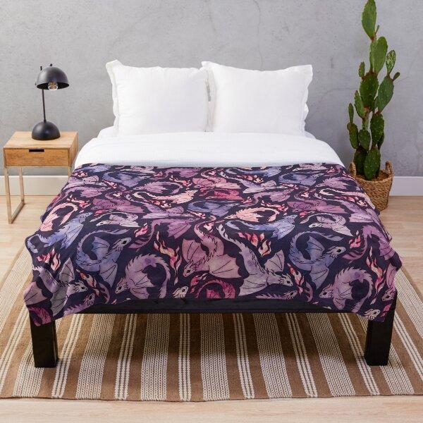 Dragon fire dark pink & purple Throw Blanket