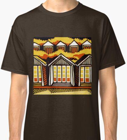 Beach Huts - Summer - Original Linocut by Francesca Whetnall Classic T-Shirt