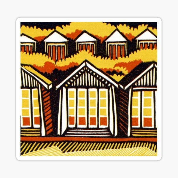 Beach Huts - Summer - Original Linocut by Francesca Whetnall Sticker