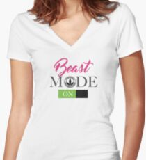 Beast Mode On For Ladies HerbaSwag Women's Fitted V-Neck T-Shirt