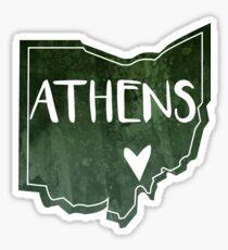 Athens, Ohio - Green Watercolor Heart Sticker