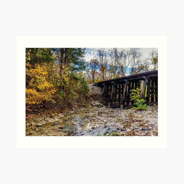Autumn Railroad Bridge Art Print