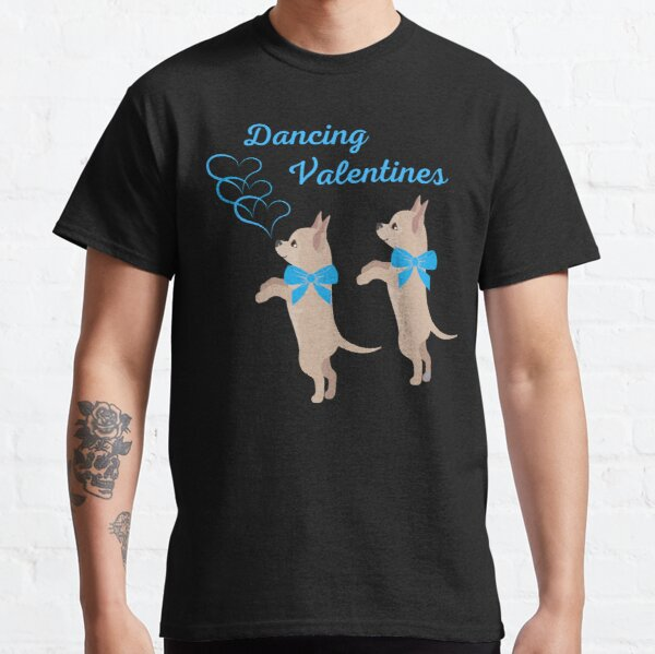 Dancing Valentine Chihuahuas in Blue Classic T-Shirt