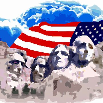 Mount Rushmore  With American Flag  by EdmondHoggeJr