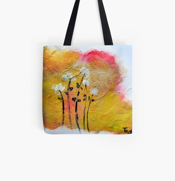 Warm Flowers All Over Print Tote Bag