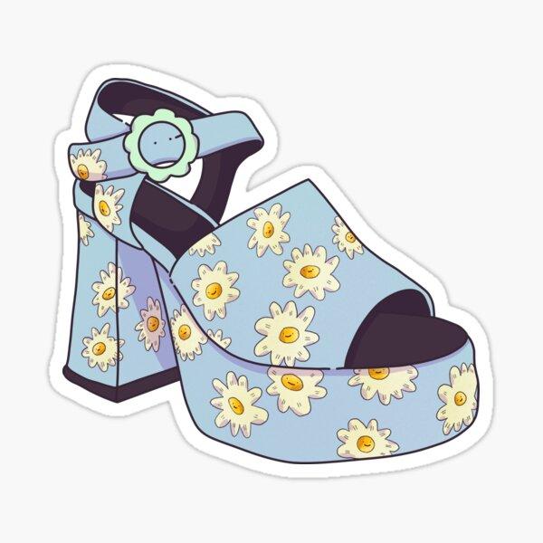 Blue Fashion Platform Heel  Sticker