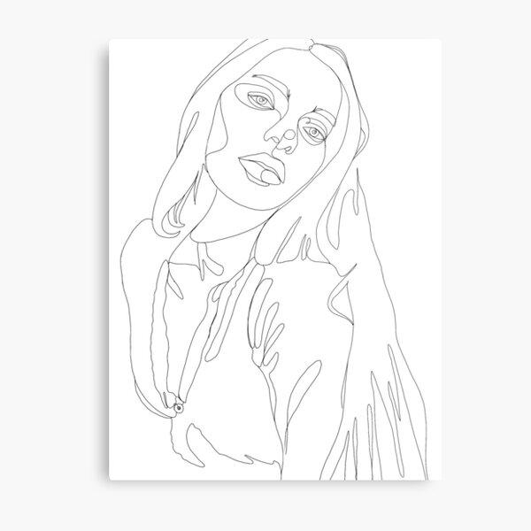 Digitale Kunst Linien-Zeichnung mit minimalem Umriss Metallbild