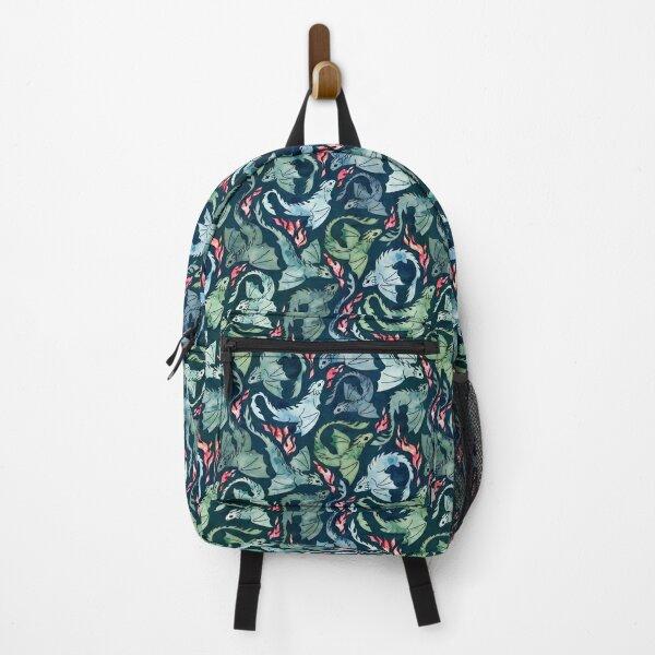 Dragon fire dark blue & green Backpack