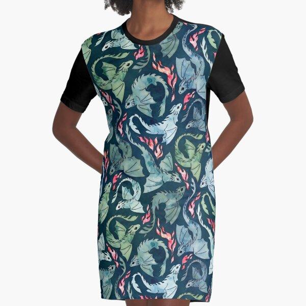 Dragon fire dark blue & green Graphic T-Shirt Dress