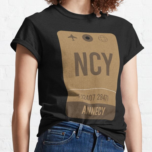 Annecy Airport Vintage Luggage Tag Classic T-Shirt