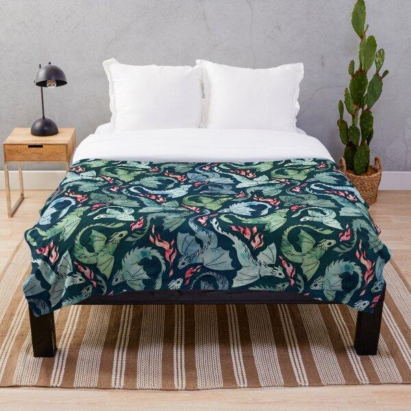 Dragon fire dark blue & green Throw Blanket