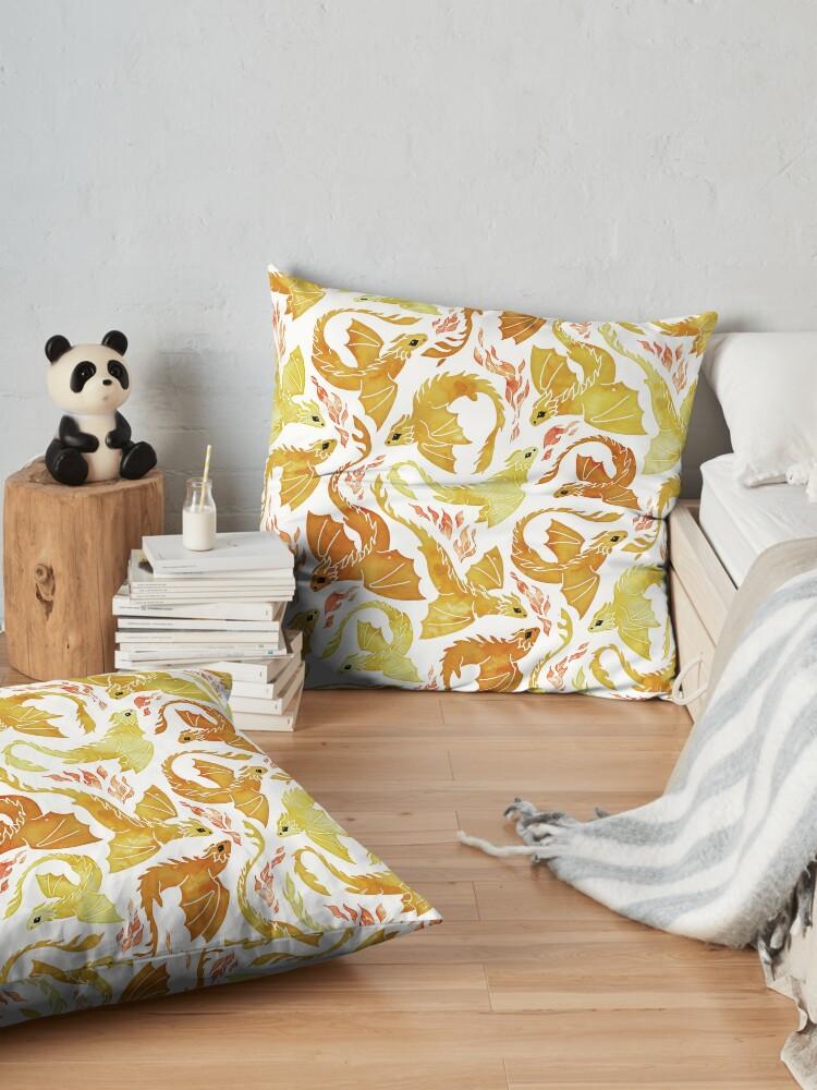Alternate view of Dragon fire yellow Floor Pillow