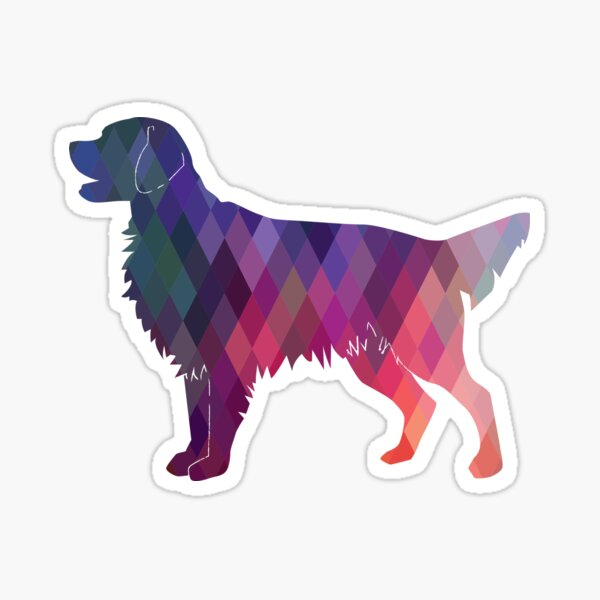 Flat-Coated Retriever and Golden Retriever Geometric Pattern Silhouette - Pink Sticker