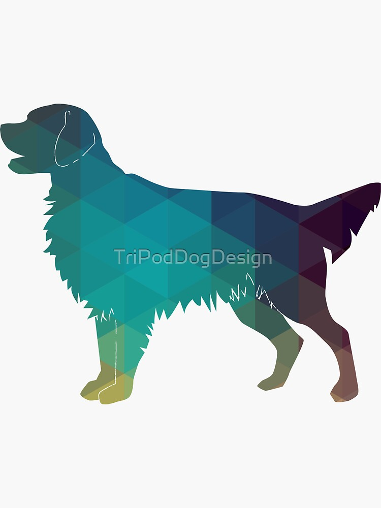 Golden Retriever and Flat-Coated Retriever Geometric Pattern Silhouette - Green by TriPodDogDesign